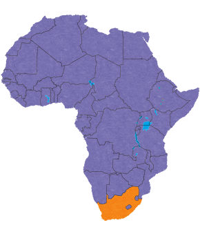 South Africa's location in Africa