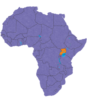 Uganda's location in Africa