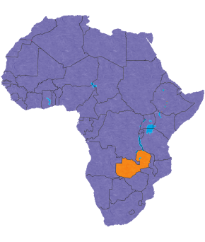 Zambia's location in Africa